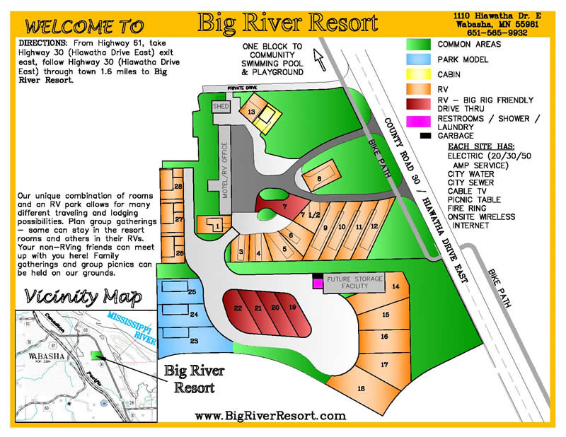 Big River Resort in Wabasha, Minnesota - Stay in one of our Lodging options including RV Park, Camping, Hotel, Cabins, Loft and enjoy the Mississippi River, National Eagle Center, Grumpy Old Men Festival, Fishing, Boating, Relax and more!